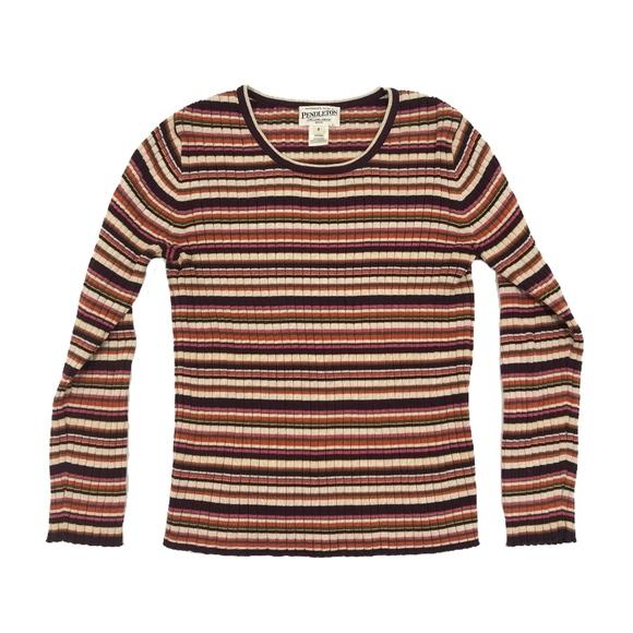 Pendleton Tops Fall Colors Striped Crewneck Longsleeve Knit Top